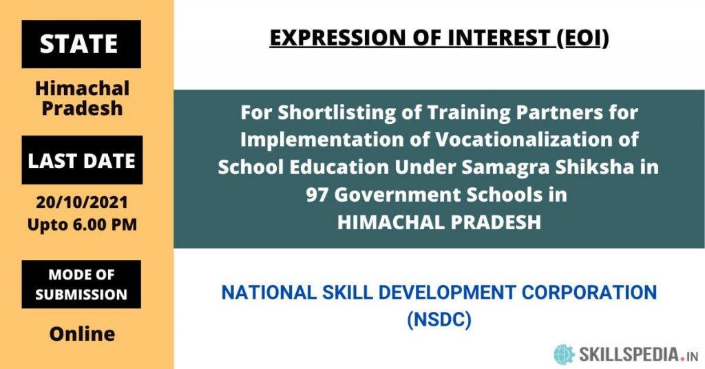 SKILLSPEDIA-REOI-NSDC-Himachal-Pradesh-Vocationalization-of-school-education